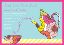 Trendy Decorative Floral Tea Invitations