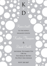 Bubbles Champagne White Polka Dot Invitations
