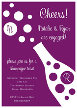 Plum Champagne Bubbles Invitation