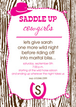Woody Cowgirl Saddle Up Invitations