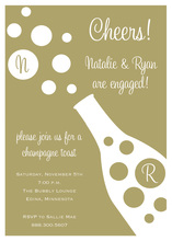 Bubbles Gold Chapagne Invitations