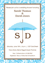 Blue Stripes Umbrella Invitations