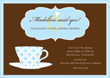 Blue Decorative Tea Cup Bling Invitations