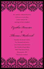 Trendy Black Damask Hot Pink Bridal Shower Invitations