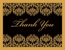 Gold Damask on Black Thank You Cards