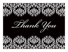 White Damask on Black Thank You Cards