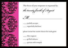Black Damask on Hot Pink RSVP Cards