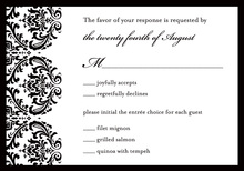 White Damask on Black RSVP Cards