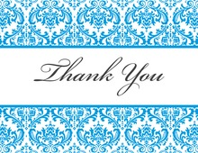 Blue Trimmed Damask Thank You Cards