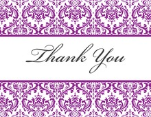 Purple Trimmed Damask Thank You Cards
