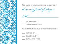 Blue Trimmed Damask RSVP Cards