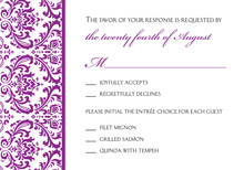 Purple Trimmed Damask RSVP Cards