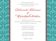 Teal Stylish Modern Damask Flanks Invitation