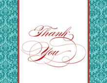 Teal Damask Flanks Thank You Cards