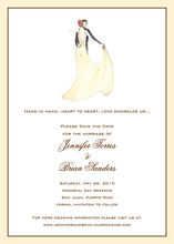 Dancing Couple on Cream Invitations