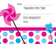 Pink-Blue Pinwheel Party Polka Dot Fill-in Thank You Cards