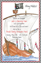 Wooden Pirate Ship Birthday Party Invitations