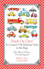 Parade Of Vehicle Birthday Party Invitations