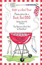 Plaid Border Back Yard BBQ Invitations