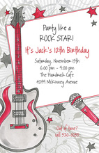 Glamorous Rock Star Birthday Party Invitations