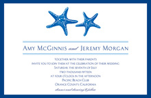 Couple Starfish Medium Blue Dark Border Invitations