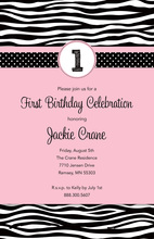 Pink 1st Birthday Zebra Invitation