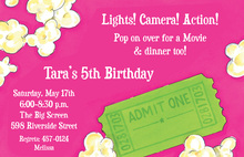 Movie and Dinner Green Ticket Pink Invitations