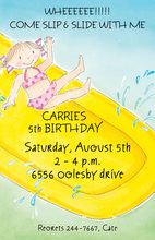 Fun Waterslide Girl Invitation