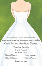 White Wedding Dress Green Invitations