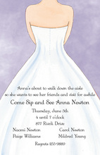 White Wedding Dress Lavender Invitations