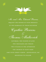 Two Doves In Wasabi Green Invitations