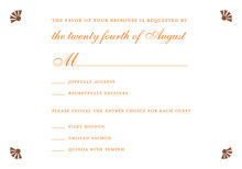 Bright White Doves Orange RSVP Cards