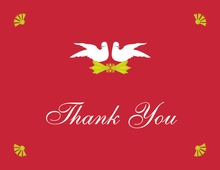 Inspired Doves In Red Thank You Cards