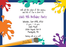 Classic Splash Art Blue Kids Birthday Invitations