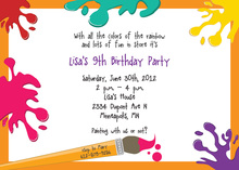 Modern Splash Art Orange Kids Birthday Invitations