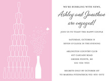 Stack Champagne Pink Shower Invitations
