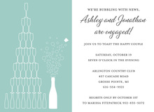 Stack Champagne Teal Shower Invitations