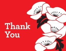 Holiday Flowers Red Thank You Cards