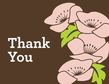 Modern Pink Flowers Thank You Cards