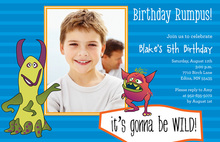 Monster Birthday Blue Birthday Party Invitations