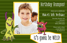 Monster Birthday Green Kids Birthday Invitations