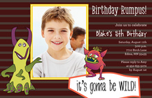 Monster Birthday Brown Kids Birthday Invitations