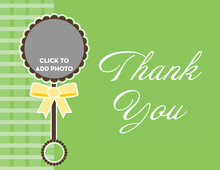 Rattle Toy In Green Thank You Cards