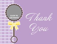 Rattle Toy in Purple Thank You Cards