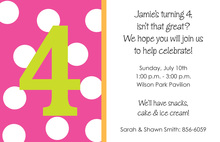 Customized Number Simple Polka Dots Invitations