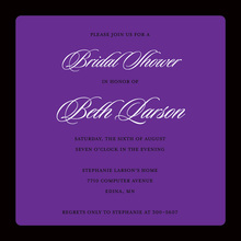 Classic Purple Elegant Black Border Square Invitations