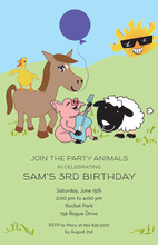 Cute Joy Animals Party Invitations