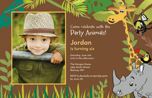 Jungle Friend Animals Brown Birthday Invitations