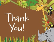 Jungle Animals Brown Thank You Cards