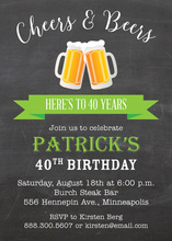 Green Banner Beer Party Invitations